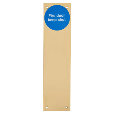 Finger Plate - Fire Door Keep Locked - 300 x 75mm - Polished Brass