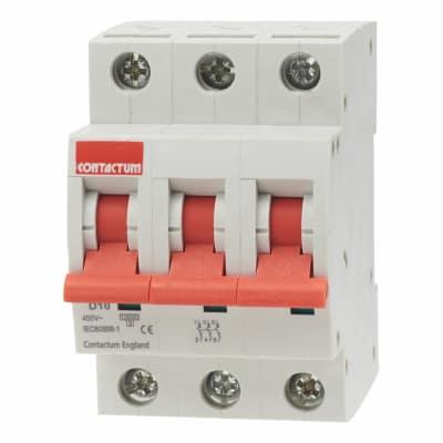 Contactum 10A 10kA Triple Pole MCB - Type D