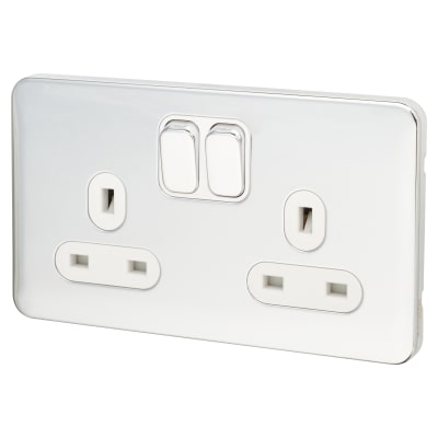 Schneider Lisse 13A 2 Gang Switched Socket - Polished Chrome with White Inserts