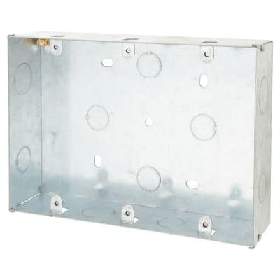 Scolmore Click 2 Gang 3 Tier 47mm Deep Knockout Box - Galvanised Steel