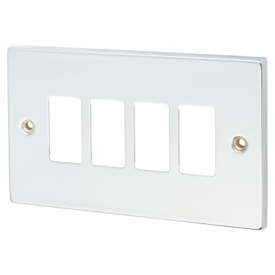 Click Scolmore GridPro 4 Gang Deco Front Plate - Polished Chrome
