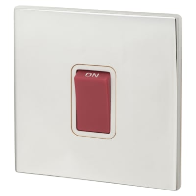 Hamilton Hartland CFX 45A 1 Gang Double Pole Red Switch - Bright Chrome with White Inserts