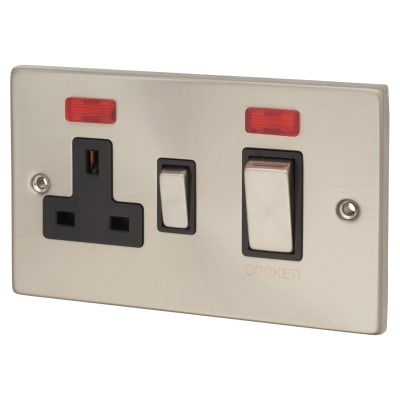 Click Scolmore 45A Ingot Cooker Switch Socket & Neons - Satin Chrome with Black Inserts