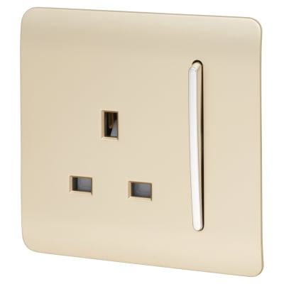Trendi 13A 1 Gang Plug / Switch - Gold