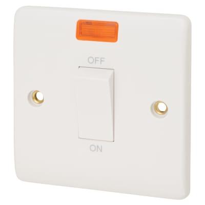 Click Scolmore 45A 1 Gang DP Switch with Neon - White