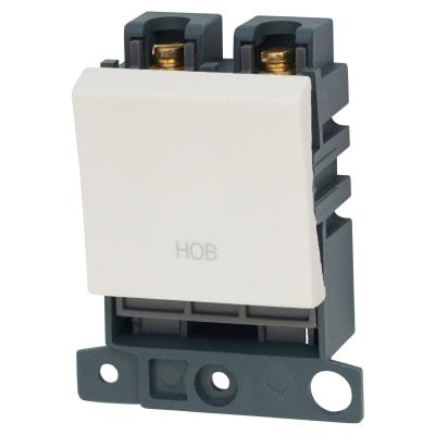 Click Scolmore MiniGrid 20A DP Ingot Switch 2 Module - Hob - White