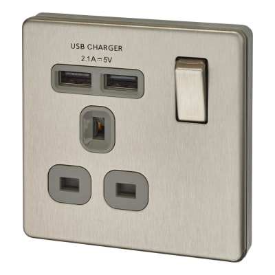 BG 13A Screwless Flatplate Socket with 2 x USB - 2.1A - Brushed Steel with Grey Insert