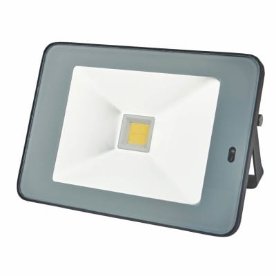 30W 4000K Slim LED Microwave Floodlight with Photocell - Black/Silver
