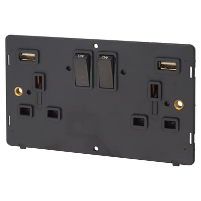 Click Scolmore 13A 2 Gang Switched Socket Outlet With x2 2.1A USB Outlets Insert - Black