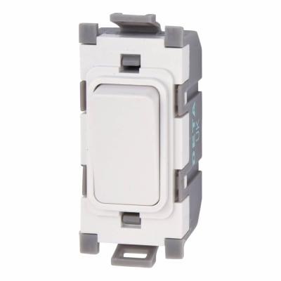 Deta 20A 1 Way Single Pole Grid Switch - White