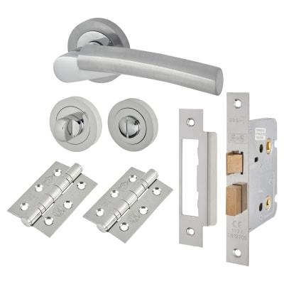Touchpoint Cloe Lever Door Handle - Bathroom Lock Kit - Satin/Polished Chrome