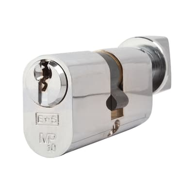 Eurospec 10 Pin 64mm Oval Thumbturn Cylinder - 32mm [Turn] + 32mm - Polished Chrome - Keyed to Diff
