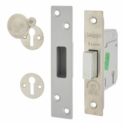 Legge Heavy Duty BS3621:2007 5 Lever Deadlock - 64mm Case - 44mm Backset - Stainless Steel
