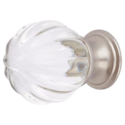 Aglio Floral Glass Cabinet Knob - 30mm - Satin Nickel