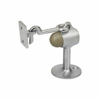 Vertical Door Stop/Holder - 90 x 51mm - Satin Chrome