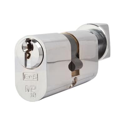 Eurospec 10 Pin 64mm Oval Thumbturn Cylinder - 32mm [Turn] + 32mm - Polished Chrome - Master Keyed