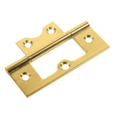 Flush Hinge - 75 x 50 x 1.7mm - Polished Brass - Pair