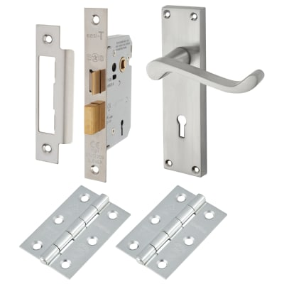 Touchpoint Budget Scroll Door Handle Kit - Keyhole Lock Set - Satin Chrome