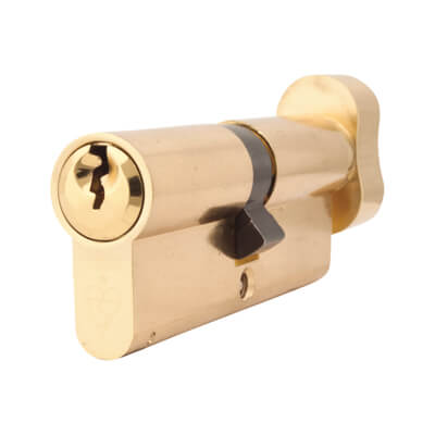 Yale 1 Star Kitemarked Euro Thumbturn Cylinder - 80mm Length - 40mm [Turn] + 40mm - Polished Brass