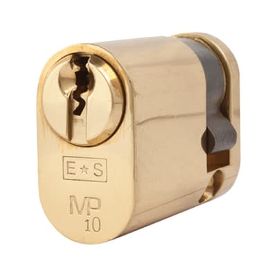 Eurospec Oval Single Cylinder - 10 Pin - 32 + 10mm - Polished Brass - Master Keyed