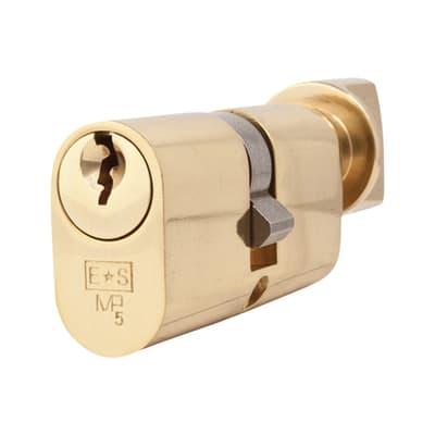 Eurospec 5 Pin 60mm Oval Thumbturn Cylinder - 30mm [Turn] + 30mm - Polished Brass - Master Keyed