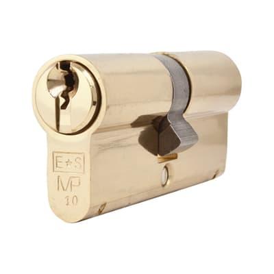 Eurospec Euro Double Cylinder- 10 Pin - 35 + 35mm - Polished Brass - Keyed Alike