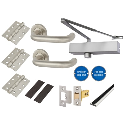 Medium Duty Lever on Rose Fire Door Kit - Latch - Stainless Steel
