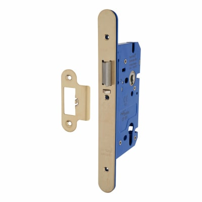 A-Spec Architectural DIN Euro Mortice Nightlatch - 85mm Case - 60mm Backset - Radius - PVD Brass