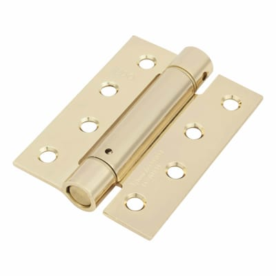 Adjustable Fire Rated Self Closing Spring Hinge - 100 x 75mm - Electro Brass Plated - Pack 3