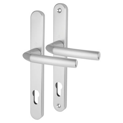 Hoppe Birmingham - uPVC/Timber - Multipoint Long Plate Handle - 92mm C/C-44mm door thickness-Silver