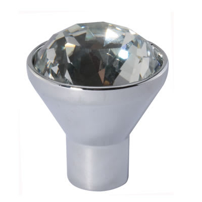 Raised Cut Crystal Glass Cabinet Knob - 29mm - Polished Chrome