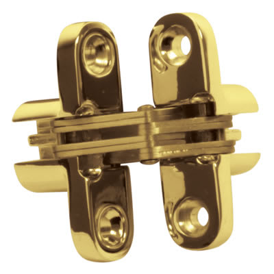 Tago Concealed Hinge - 60 x 13mm - Polished Brass - Pair