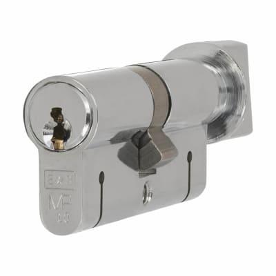 Eurospec 15 Pin 64mm Euro Thumbturn Cylinder - 32mm [Turn] + 32mm - Polished Chrome - Keyed to Diff