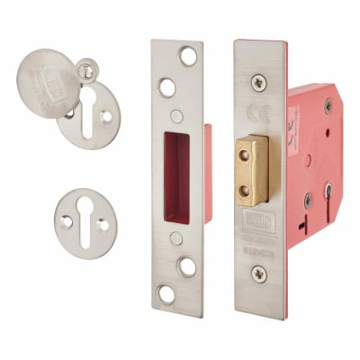 UNION® 2101 5 Lever Deadlock - Keyed Alike - 77mm - 57mm Backset - Satin Chrome