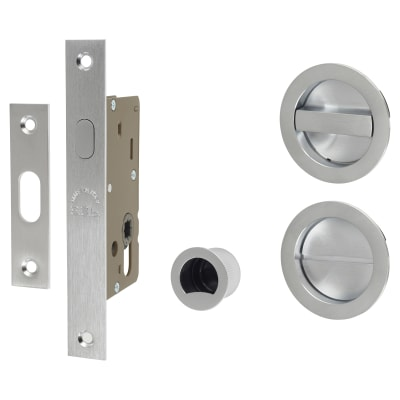 M Marcus Round Flush Privacy Handle Set with Lock - Satin Chrome