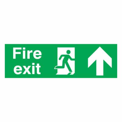 Fire Exit Up - 150 x 450mm - Rigid Plastic