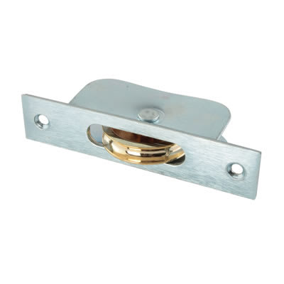 Square Galvanised Sash Pulley - 44mm Brass Wheel