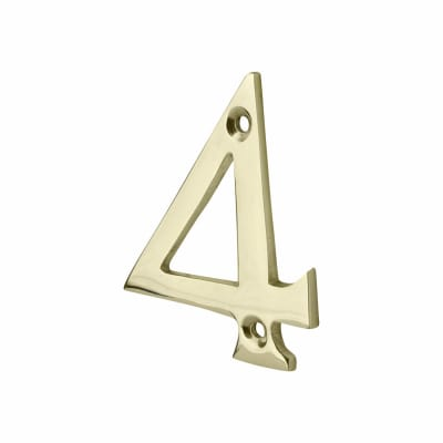 76mm Numeral - 4 - Polished Brass