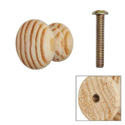 Touchpoint Wooden Cabinet Knob with Bolt & Insert - 25mm - Pine - Pack 5