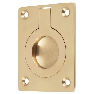 Rectangular Flush Ring Pull - 63 x 50mm - Polished Brass