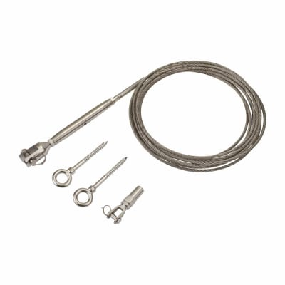 Balustrade 3 Metre Wire Rope Tension Kit with Wood Thread Screw - Grade 316 Stainless Steel