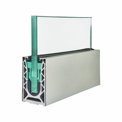 Barrier Sabco Aluminium Side Fix 2500mm Balustrade Rail Kit - 15mm Glass - Aluminium Cover