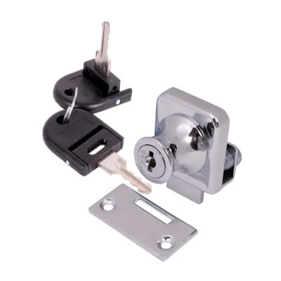 Square Single Glass Door Lock - 25mm - Chrome Plated