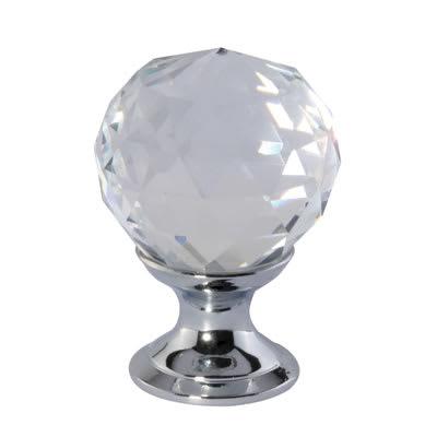 Cut Glass Cabinet Knob - 25mm - Polished Chrome