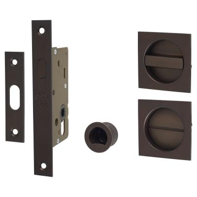 M Marcus Square Flush Privacy Handle Set with Lock - Matt Bronze