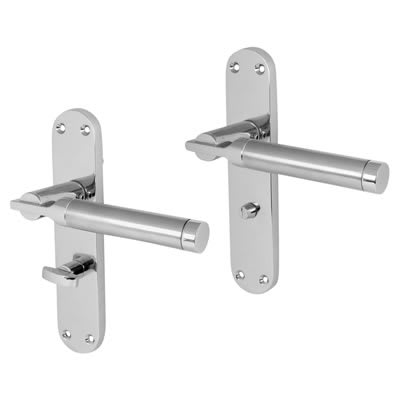 Morello Parma Door Handle - Bathroom Set - Satin/Polished Chrome