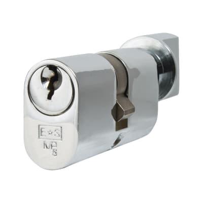Eurospec 5 Pin 60mm Oval Thumbturn Cylinder - 30mm [Turn] + 30mm - Polished Chrome - Master Keyed
