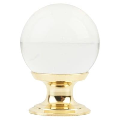 Ball Glass Cabinet Knob - 25mm - Polished Brass
