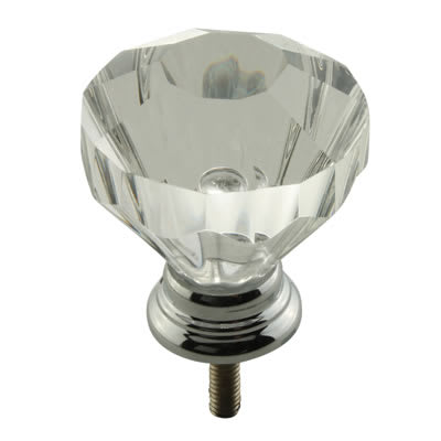 Floral Glass Cabinet Knob - 32mm - Polished Chrome