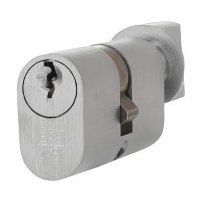 Eurospec 5 Pin 60mm Oval Thumbturn Cylinder - 30mm [Turn] + 30mm - Satin Chrome - Master Keyed